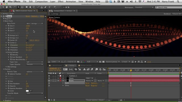 02 – Getting Started with Trapcode Form: Strings, Disperse, and Twist