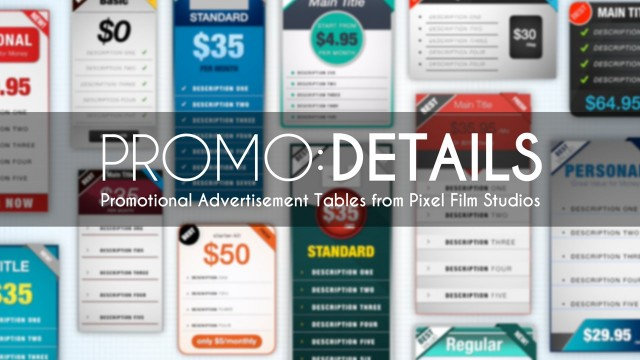 Promo: Details – Promotional Advertisement Tables for FCPX from Pixel Film Studios
